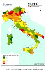 consumo suolo province