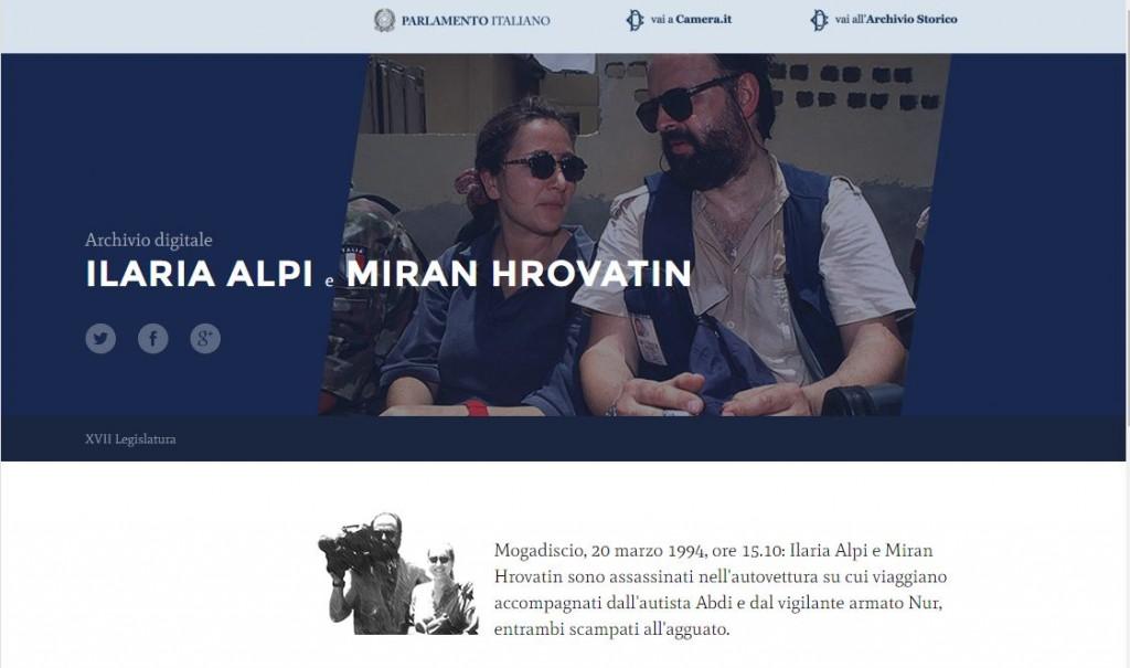 Camera, online l'archivio dedicato a Ilaria Alpi e Miran Hrovatin