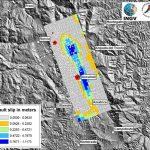Mappa della deformazione ottenuta elaborando, con la tecnica dell'Interferometria Differenziale, le immagini radar del satellite ALOS 2 acquisite il 09/09/2015 (pre-evento) ed il 24/8/2016 (post-evento); la zona in rosso evidenzia l'area affetta dall'abbassamento (allontanamento dal radar) dovuto agli eventi sismici, che raggiunge circa 20 centimetri in corrispondenza  di Accumoli.