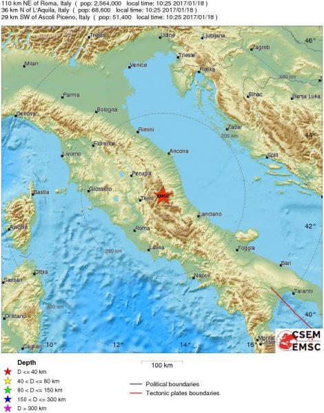 Forte scossa di terremoto, magnitudo 5.3, avvertita anche a Roma