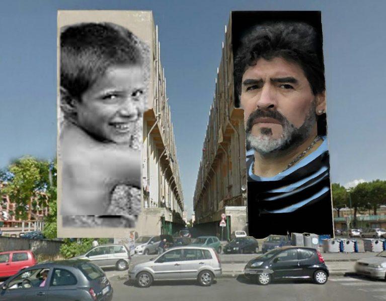 Napoli,il più grande murales di Maradona
