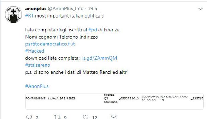 AnonPlus attacca Matteo Renzi: online i suoi dati personali