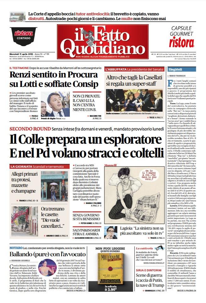 Le Prime Pagine Dei Quotidiani Di Mercoledì 11 Aprile 2018
