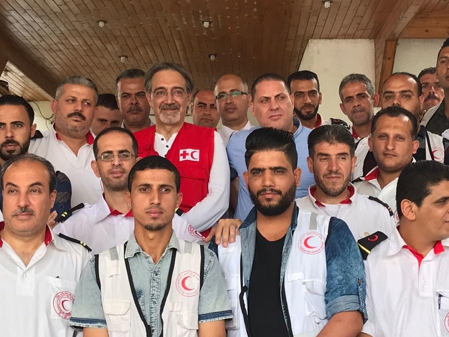 Il presidente IFRC Francesco Rocca in missione dai colleghi della Mezzaluna palestinese a Gaza Credit to Tommaso Della Longa