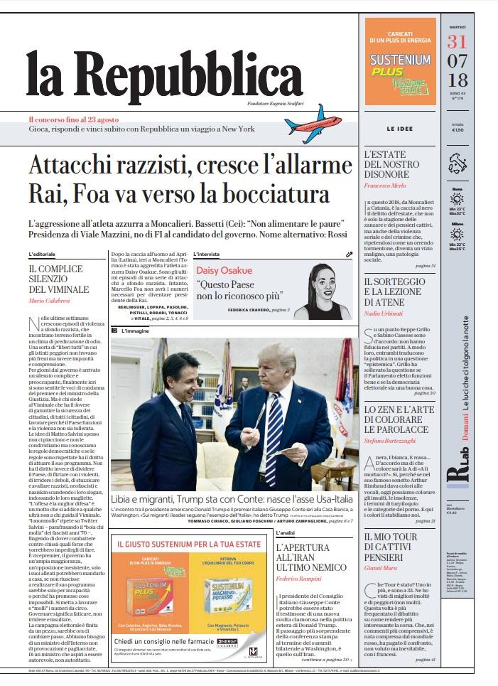 La Repubblica It Nel 2019: Le Prime Pagine Dei Quotidiani Di Martedì 31 Luglio 2018