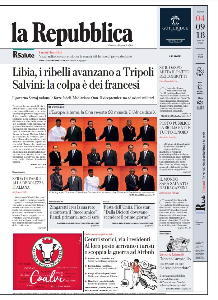 La Repubblica It Nel 2019: Le Prime Pagine Dei Quotidiani Di Martedì 4 Settembre 2018