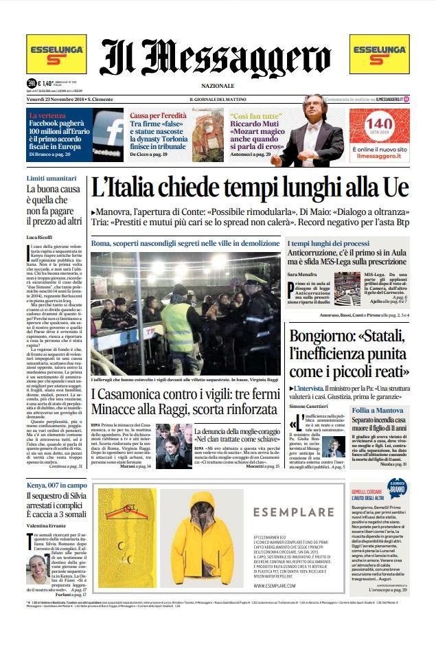 Le prime pagine dei quotidiani di Venerdì 23 Novembre 2018