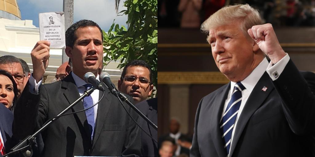 Risultati immagini per Trump e Guaidò immagini