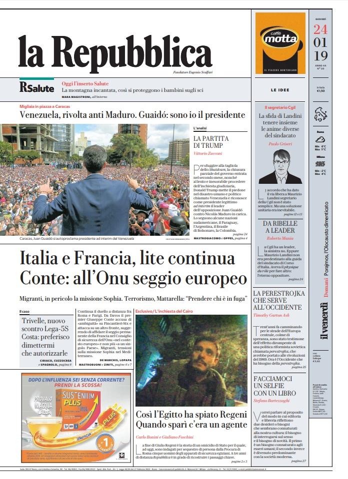Le Prime Pagine Dei Quotidiani Di Giovedì 24 Gennaio 2019 Direit