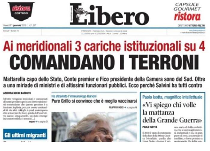 """bufera su libero per il titolo sui 'terroni', di maio: """" azzereremo i soldi pubblici ai giornali """""""