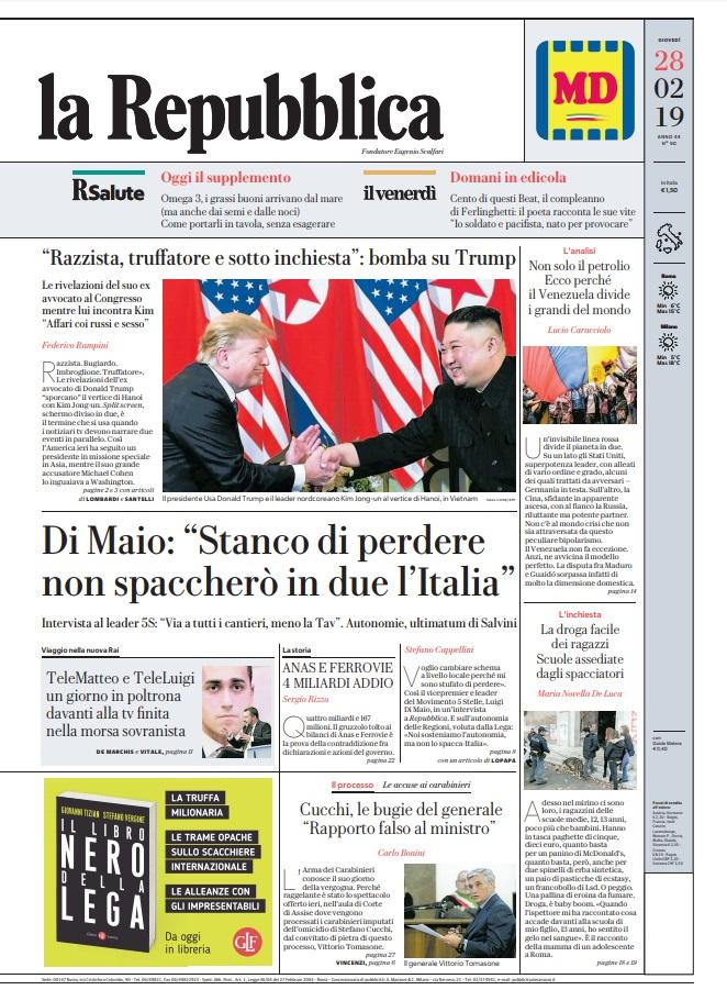 La Repubblica It Nel 2019: Le Prime Pagine Dei Quotidiani Di Giovedì 28 Febbraio 2019