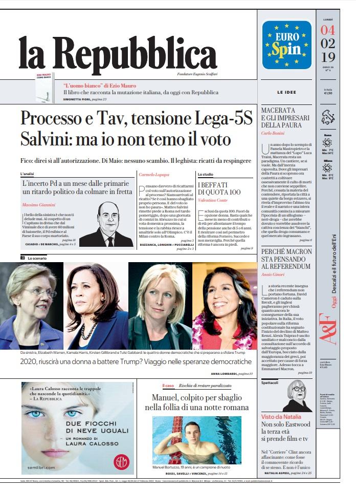 Le Prime Pagine Dei Quotidiani Di Lunedì 4 Febbraio 2019 Direit