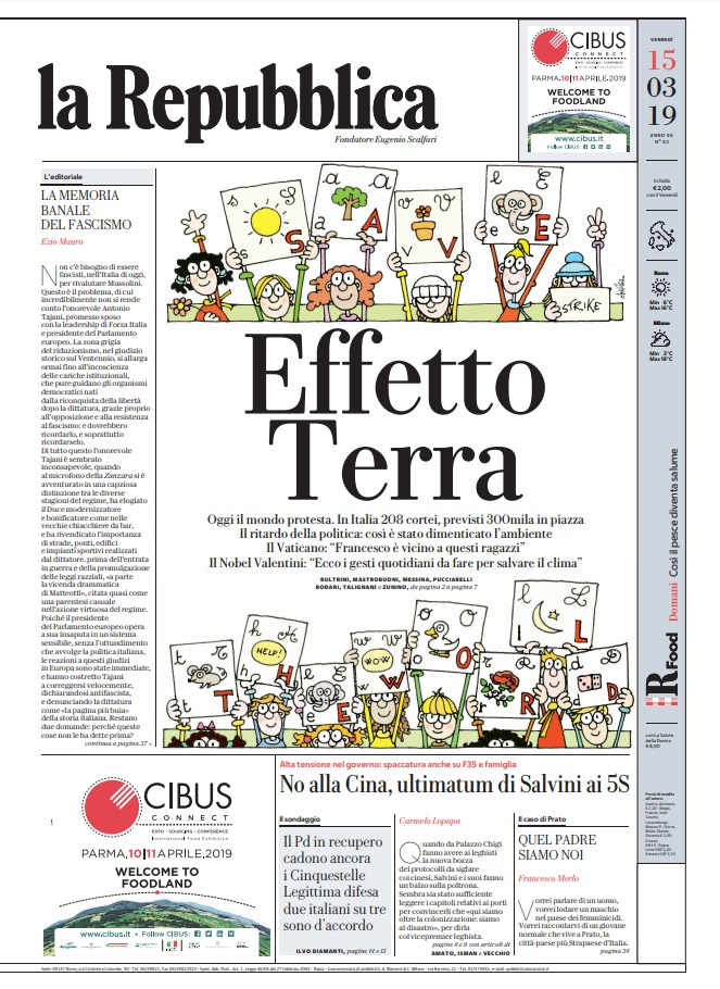 La Repubblica It Nel 2019: Le Prime Pagine Dei Quotidiani Di Venerdì 15 Marzo 2019