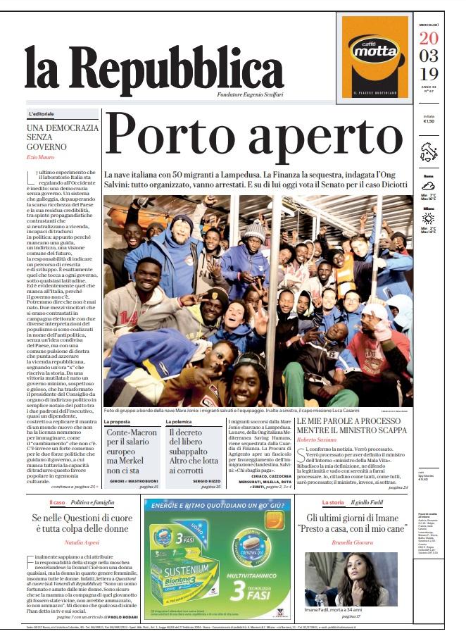 La Repubblica It Nel 2019: Le Prime Pagine Dei Quotidiani Di Mercoledì 20 Marzo 2019