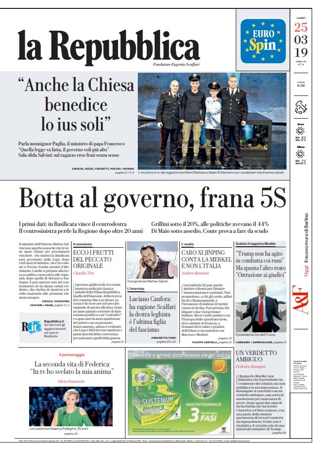 La Repubblica It Nel 2019: Le Prime Pagine Dei Quotidiani Di Lunedì 25 Marzo 2019