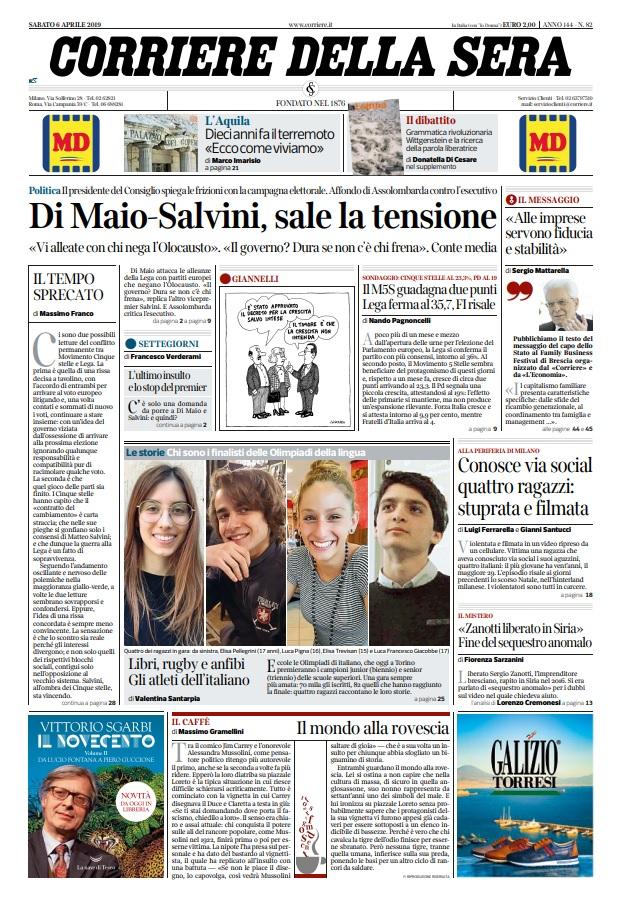 Le prime pagine dei quotidiani di sabato 6 aprile 2019 - Pagine di ringraziamento e divertimento ...