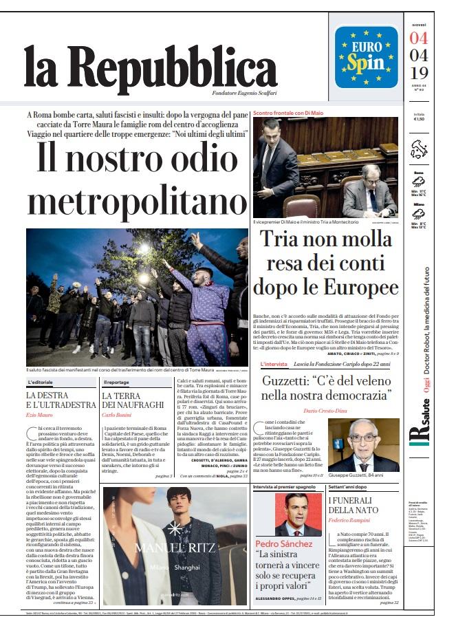 Le prime pagine dei quotidiani di gioved 4 aprile 2019 - Pagine di ringraziamento e divertimento ...