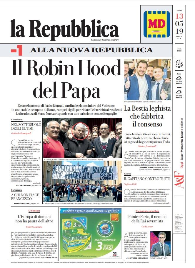 La Repubblica It Nel 2019: Le Prime Pagine Dei Quotidiani Di Lunedì 13 Maggio 2019