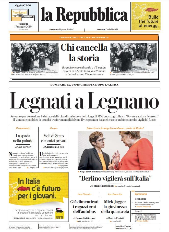 La Repubblica It Nel 2019: Le Prime Pagine Dei Quotidiani Di Venerdì 17 Maggio 2019