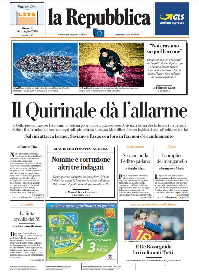 La Repubblica It Nel 2019: Le Prime Pagine Dei Quotidiani Di Giovedì 30 Maggio 2019