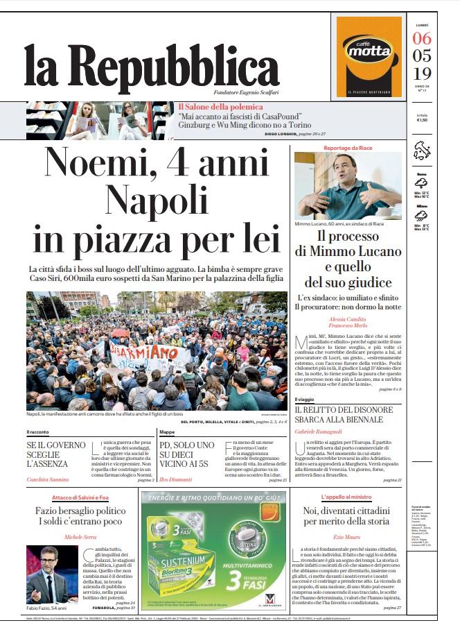 La Repubblica It Nel 2019: Le Prime Pagine Dei Quotidiani Di Lunedì 6 Maggio 2019