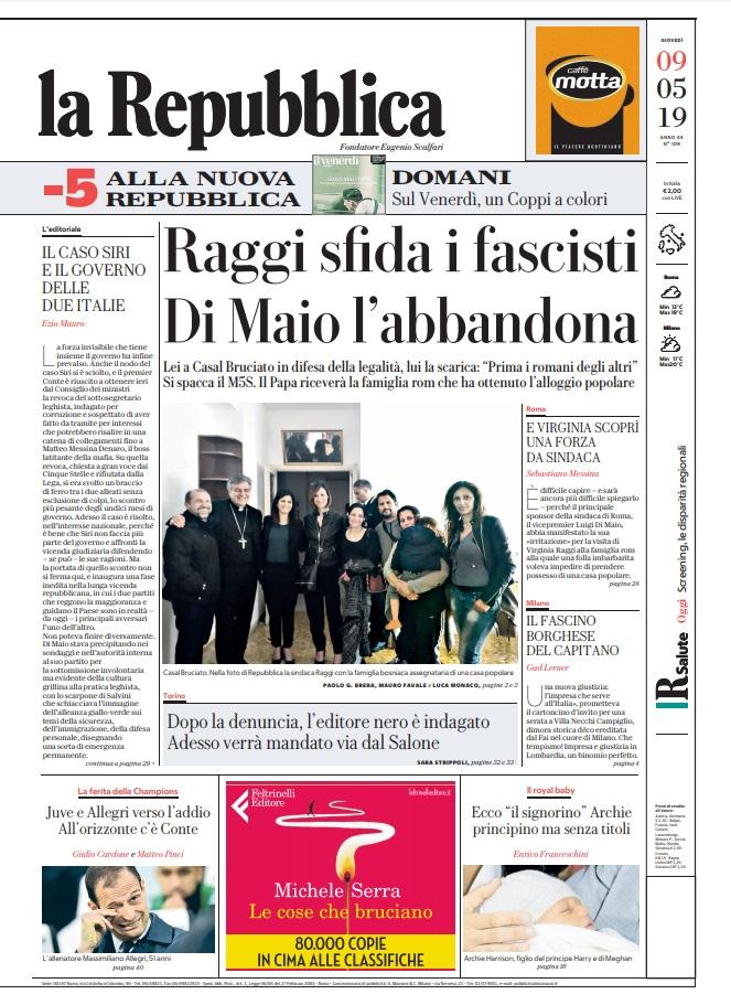 La Repubblica It Nel 2019: Le Prime Pagine Dei Quotidiani Di Giovedì 9 Maggio 2019