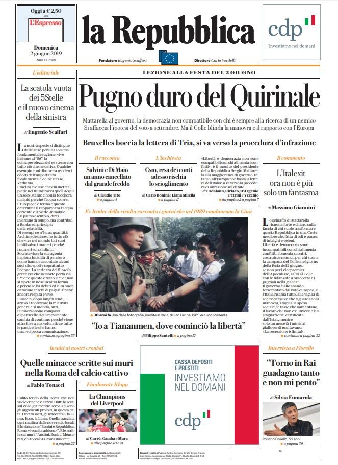 La Repubblica It Nel 2019: Le Prime Pagine Dei Quotidiani Di Domenica 2 Giugno 2019