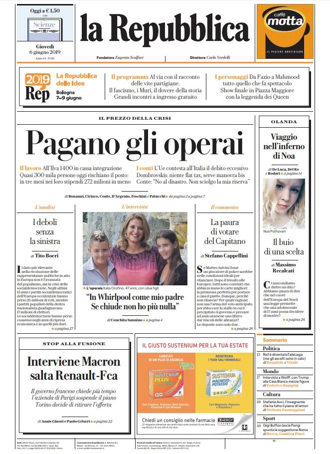 La Repubblica It Nel 2019: Le Prime Pagine Dei Quotidiani Di Giovedì 6 Giugno 2019