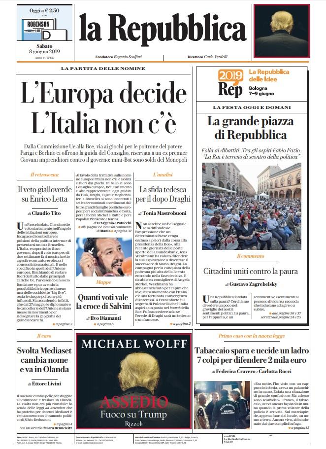 La Repubblica It Nel 2019: Le Prime Pagine Dei Quotidiani Di Sabato 8 Giugno 2019