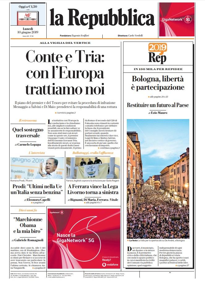 La Repubblica It Nel 2019: Le Prime Pagine Dei Quotidiani Di Lunedì 10 Giugno 2019