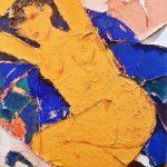 Nudo in Giallo- Ossidi, Gessi, Sabbie e Tele Antiche su tela 80x120cm COLLEZIONE PRIVATA (1)