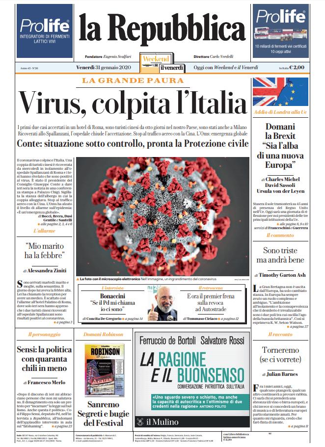 Le Prime Pagine Dei Quotidiani Di Venerdi 31 Gennaio 2020 Dire It