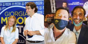 Raffaele Fitto e Giorgia Meloni_Giacomo Conserva e Matteo Salvini