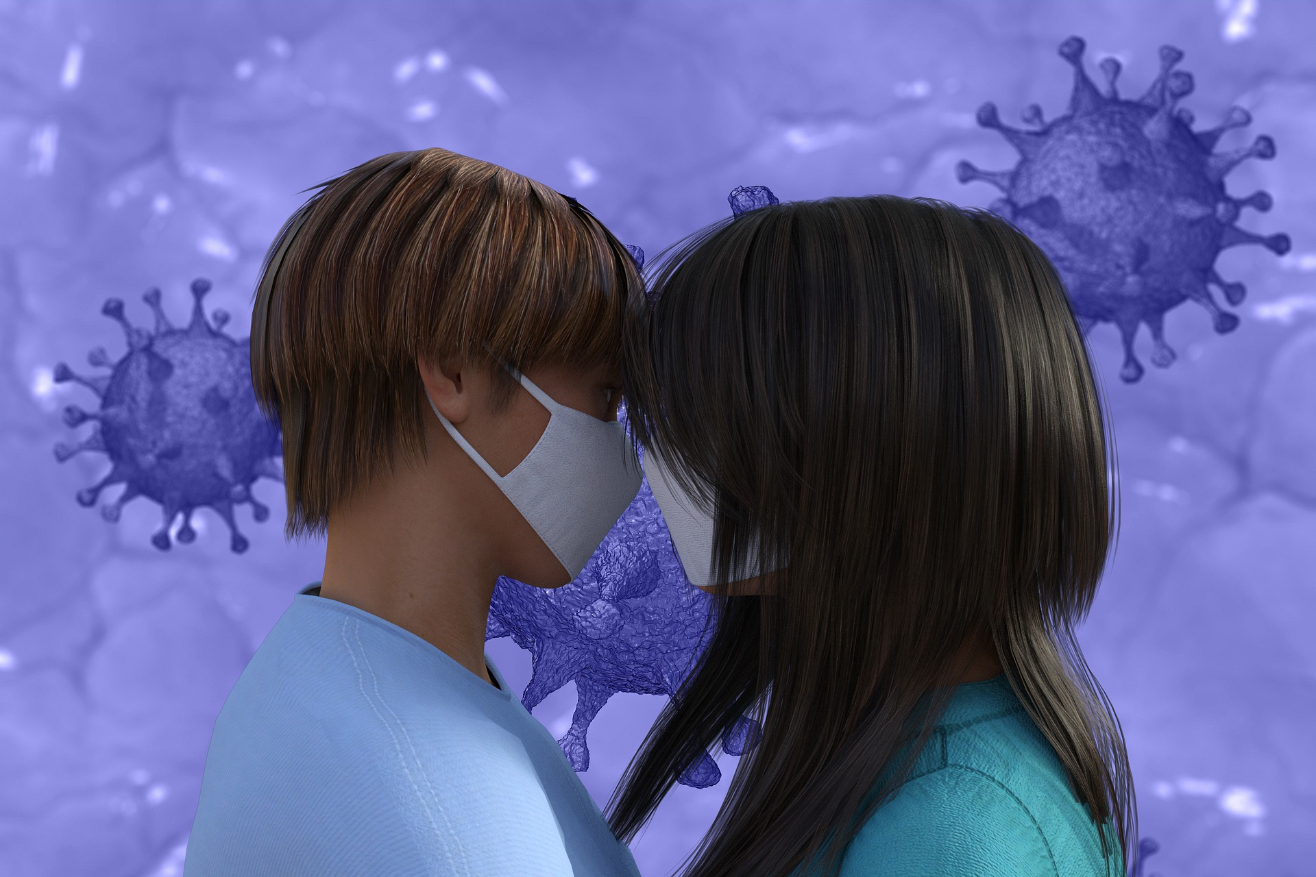 coppia amore mascherina covid coronavirus