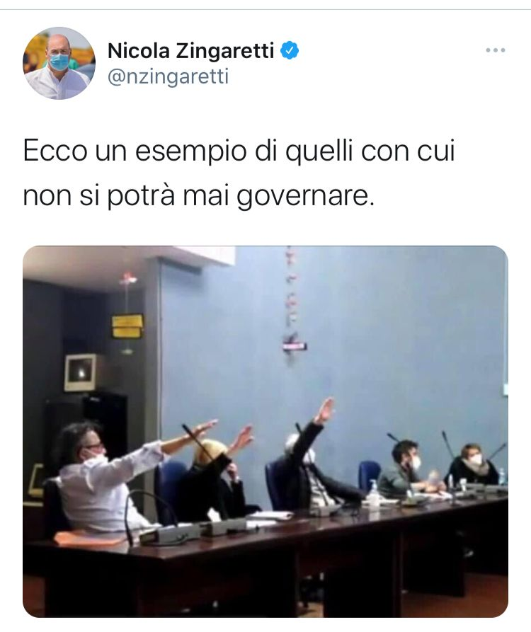 post zingaretti saluto fascista