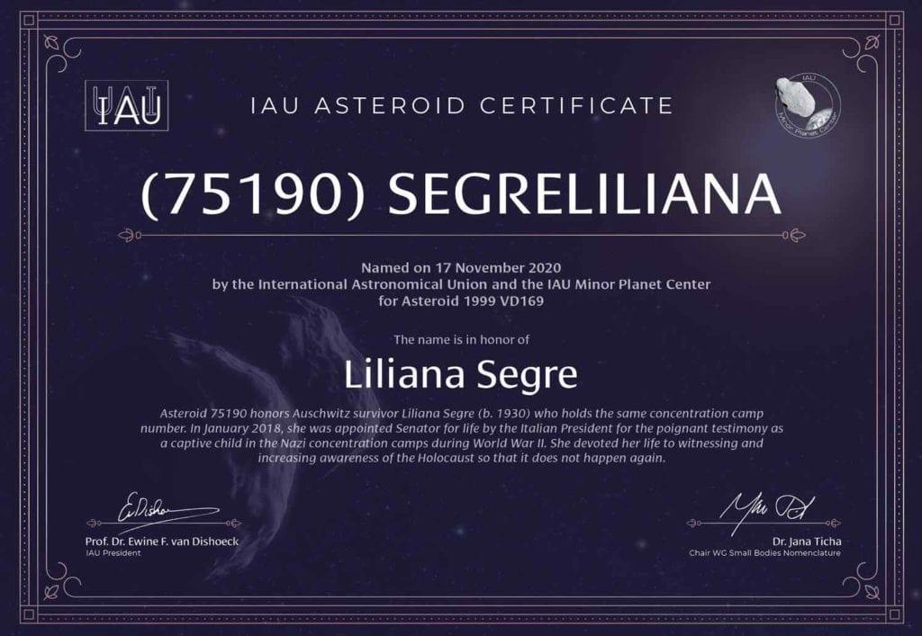asteroide liliana segre