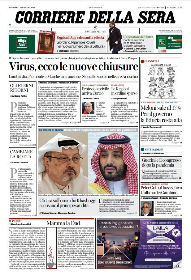 Le prime pagine dei quotidiani di Sabato 27 Febbraio 2021