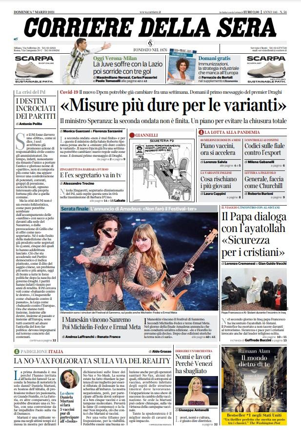 Le prime pagine dei quotidiani di Domenica 7 Marzo 2021