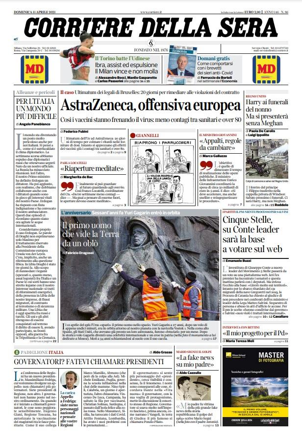Le prime pagine dei quotidiani di Domenica 11 Aprile 2021