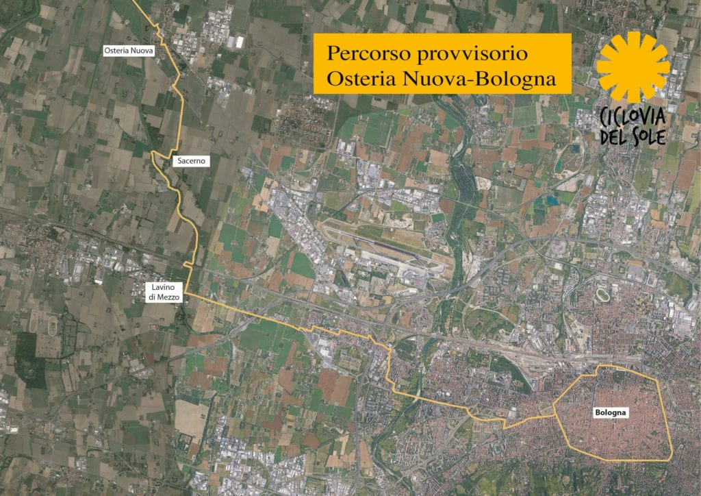 Mappa collegamento ciclabile provvisorio Osteria Nuova-Bologna