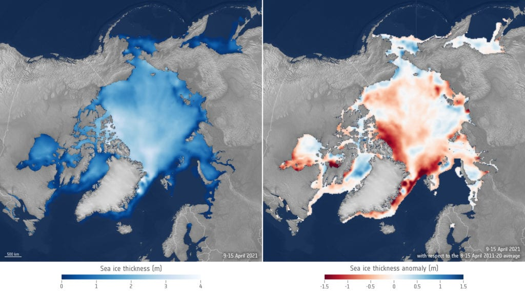 Sea-ice thickness April 2021 compared to April 2011 20 average Copyright ESA AWI
