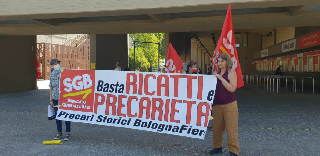 presidio sgb per denunciare la precarizzazione del lavoro nel quartiere fieristico a bologna