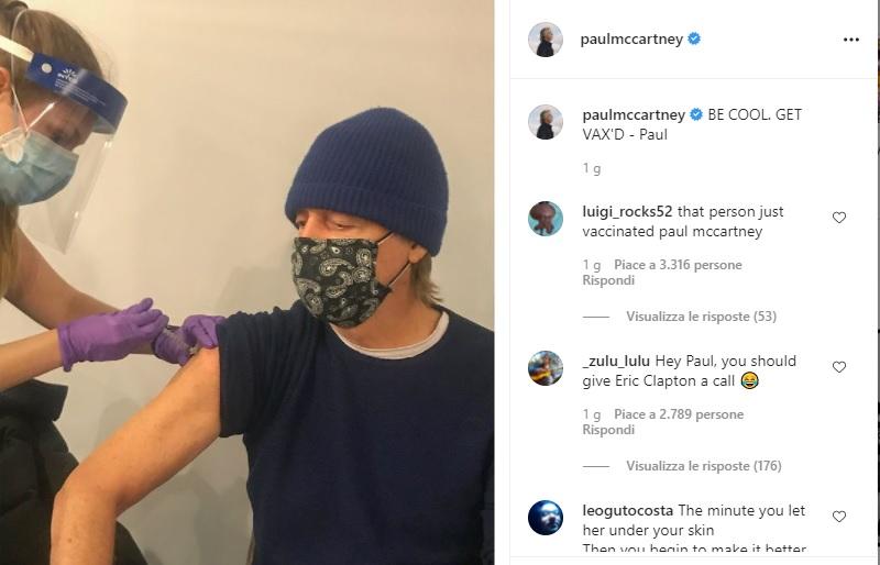 Paul McCartney vaccinato post di Instagram