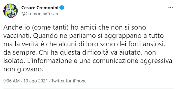 tweet cesare cremonini