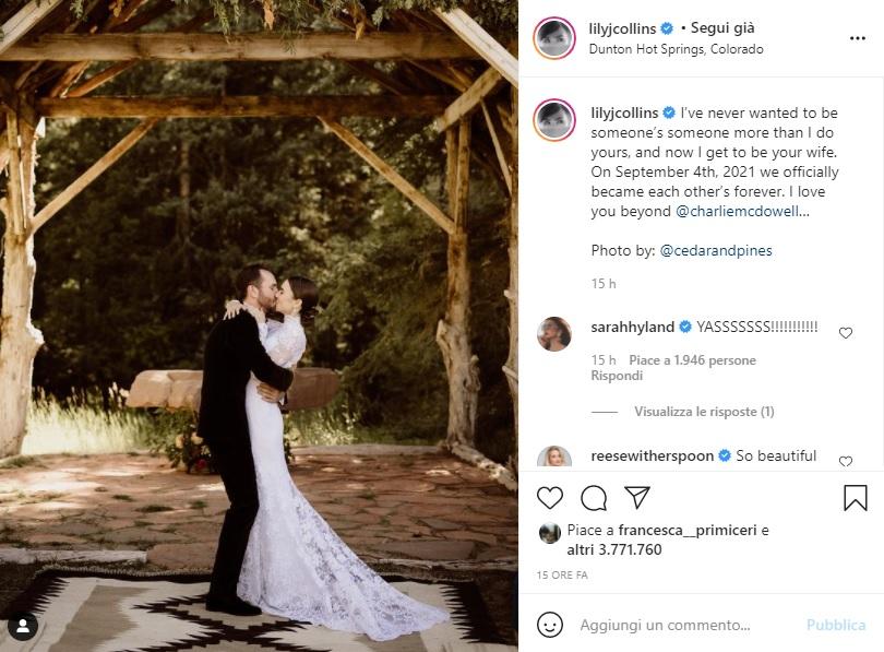 matrimonio lily collins post su instagram