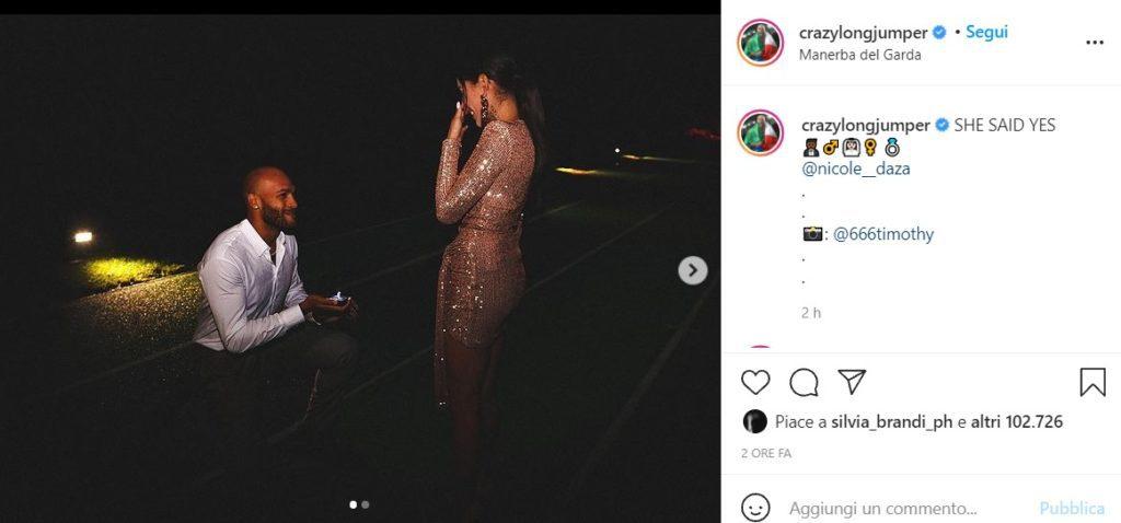 proposta di matrimonio marcell jacobs foto da Instagram