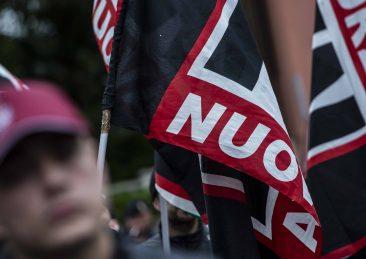 MANIFESTAZIONE FORZA NUOVA CONTRO L'INTERVENTO DI MIMMO LUCANO ALL'UNIVERSITA' LA SAPIENZA
